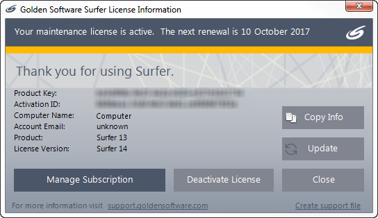 Surfer 8 serial number