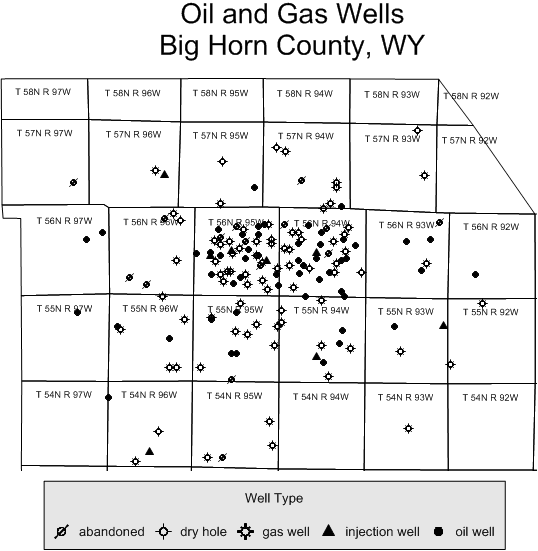 MapViewer pin map of ficticious oil and gas wells in Wyoming