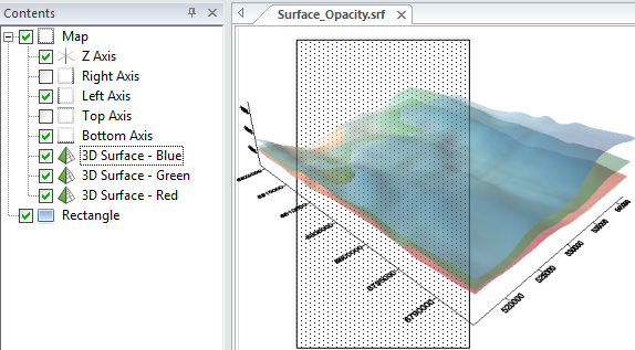 3D surface map with partial opacity