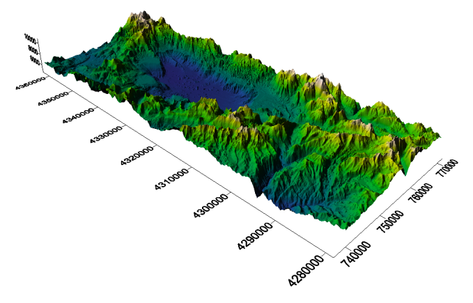 Surfer's 3D Surface map with the terrian combined from both grid files