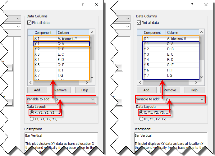 How can i use graphers graph wizard golden software support a data layout of x1 y1 x2 y2 corresponds to data with multiple x and multiple y variables so the variable list updates to show an even number of ccuart Choice Image