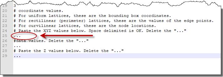 Create an ASCII curvilinear lattice (LAT) file in Voxler