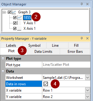 Screen shot of instructions in Object and Property Managers