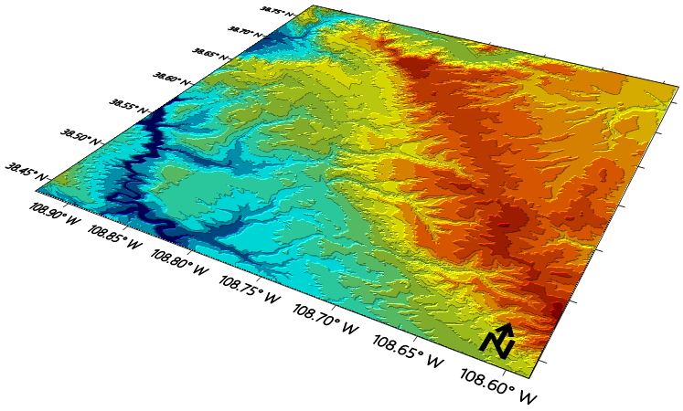 Surfer color relief map with north arrow.