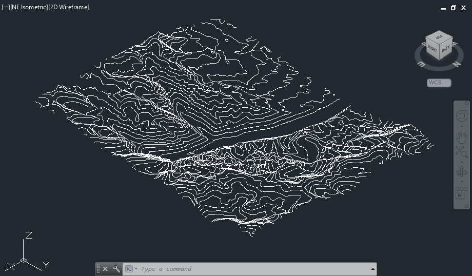 Surfer contour map exported to DXF file for display in AutoCAD.