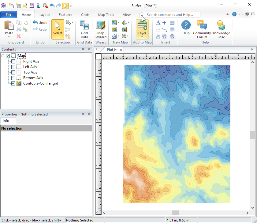 Create and customize a contour map in Surfer for export to Google Earth as an overlay.
