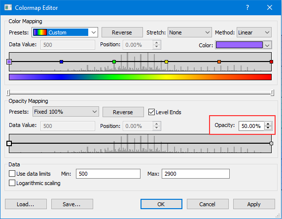 Colormap Editor dialog showing Opacity setting