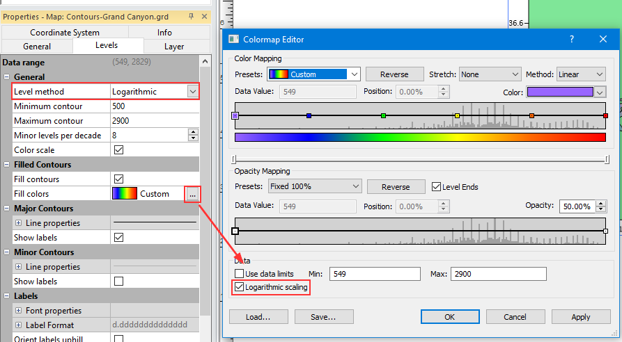 Contour Properties Levels page and Colormap Editor dialog