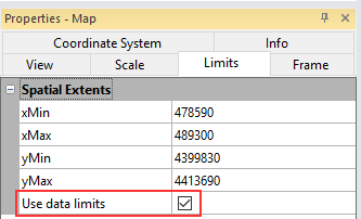 Limits tab of the Map Properties