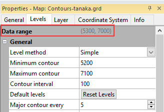 Levels tab of Contour layer Properties