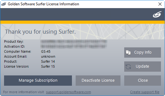 Surfer 9 serial number free