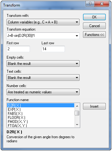 Grapher Transform dialog showing an equation