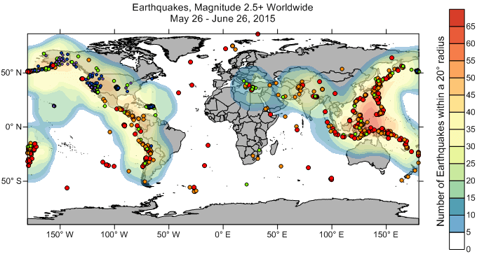 Surfer heat map depicting the number of earthquakes above magnitude 2.5 for the entire world.